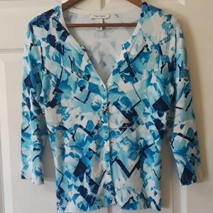 WHBM Sz M Cardigan with silver snap closure